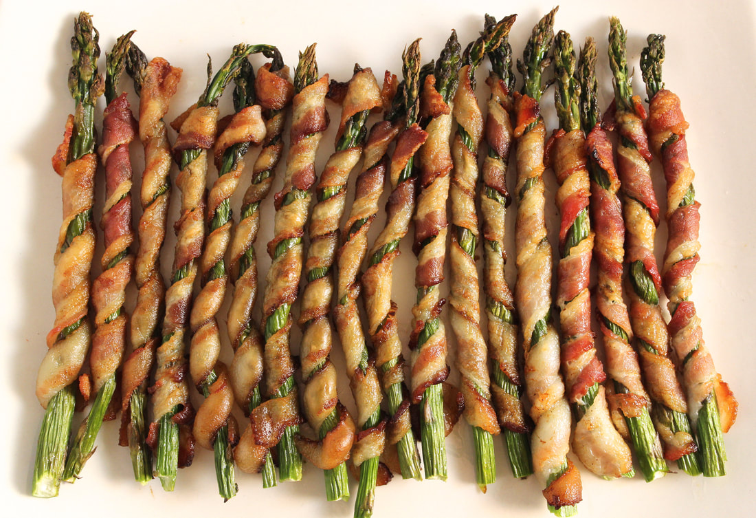 bacon wrapped asparagus platter