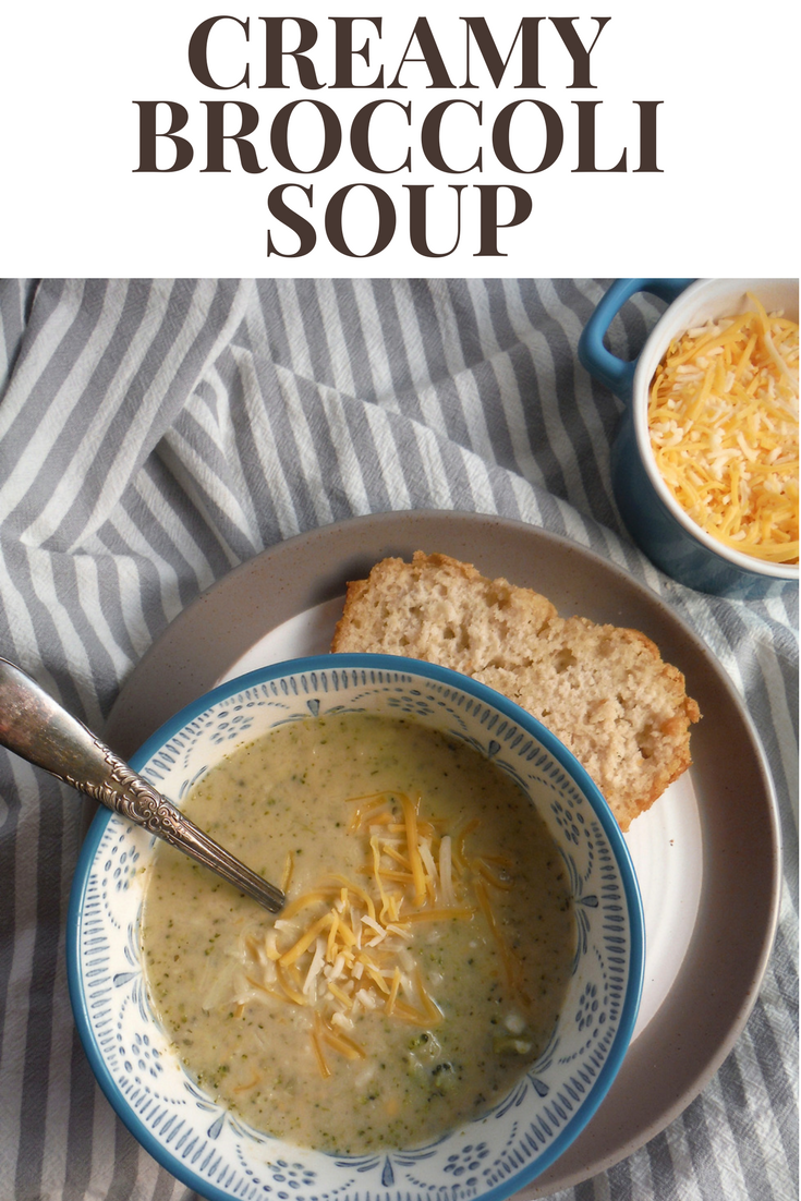 Creamy Broccoli Soup with beer bread and cheese