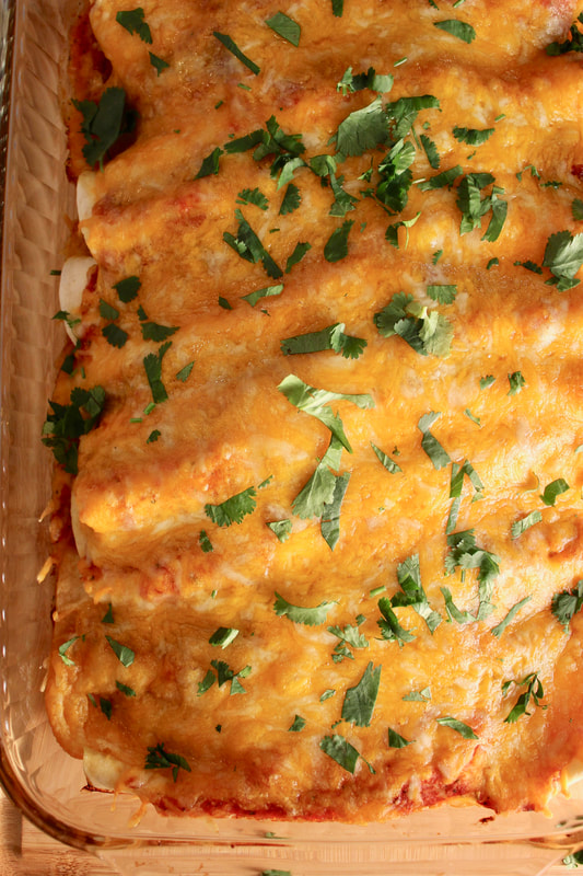 Low Carb Enchiladas in pan