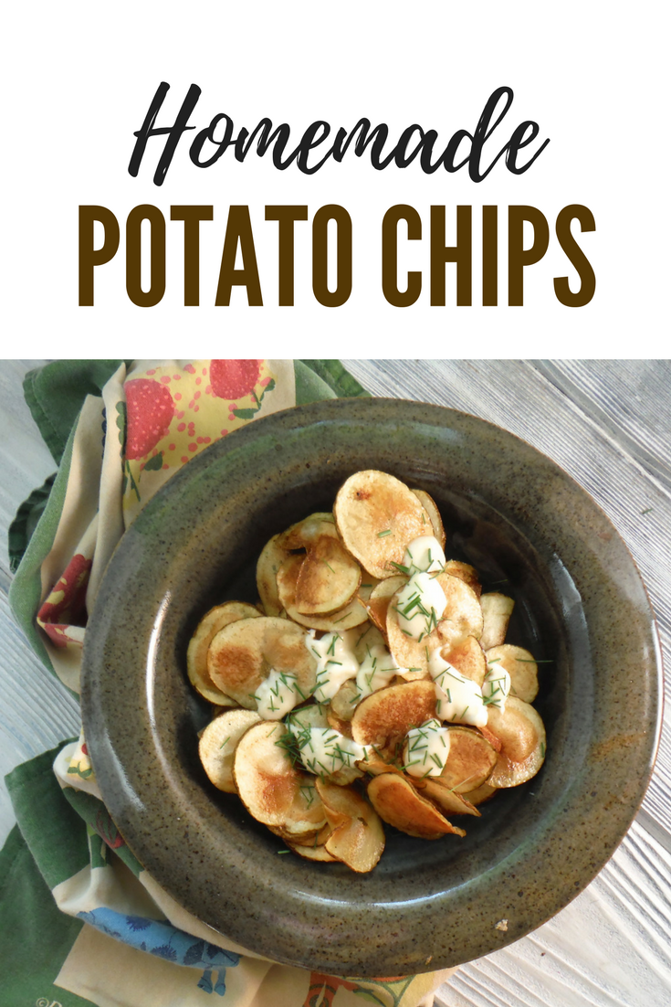 Homemade Potato Chips with Blue Cheese Dressing and chives