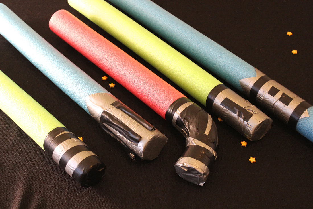 Homemade Pool Noodle Light Sabers for a Star Wars birthday party
