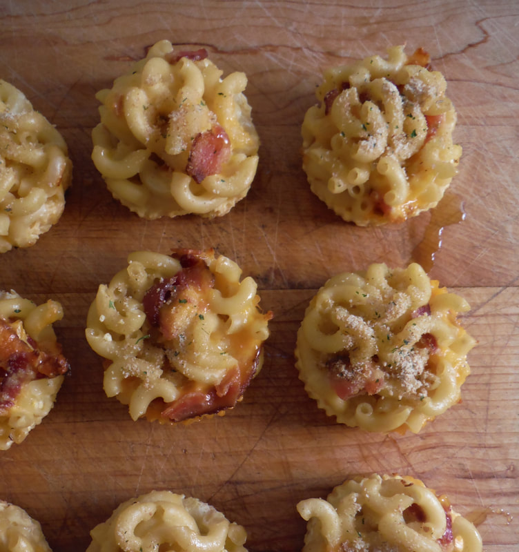 Bacon Macaroni and cheese cupcakes with Extra Virgin Olive Oil