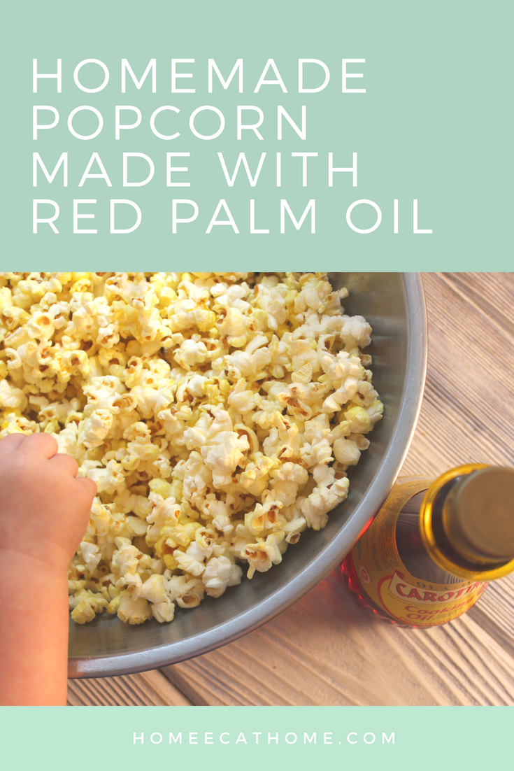 homemade popcorn with Malaysian red palm oil