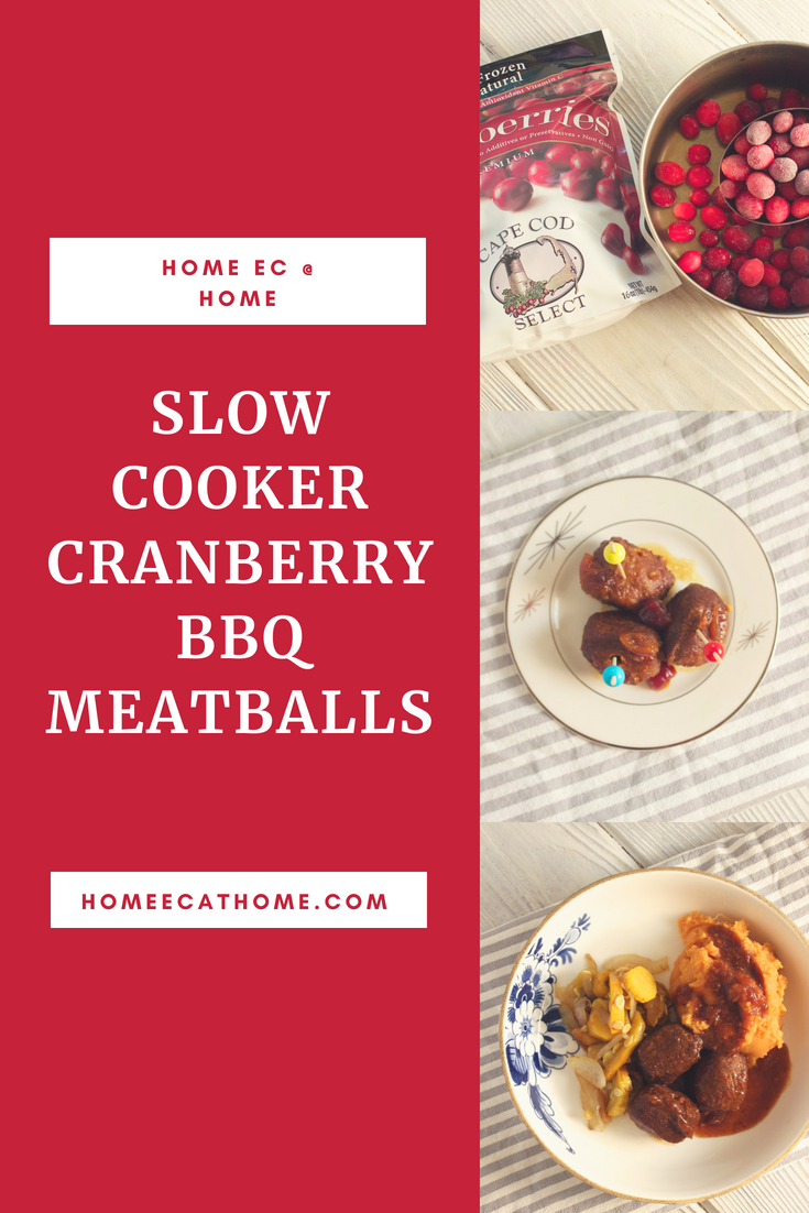 Slow Cooker Cranberry BBQ Meatballs #capecodselect #frozencranberries #cranberriesforallseasons