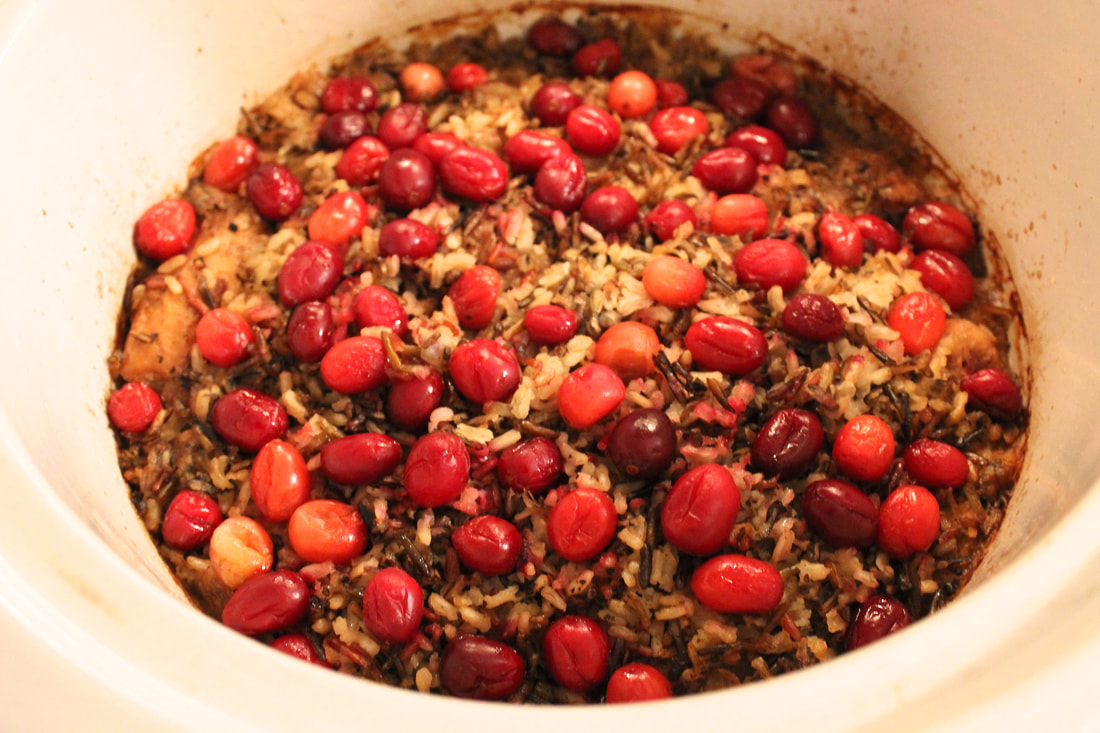 This is what chicken with wild rice and cranberries looks like in the slow cooker when done.