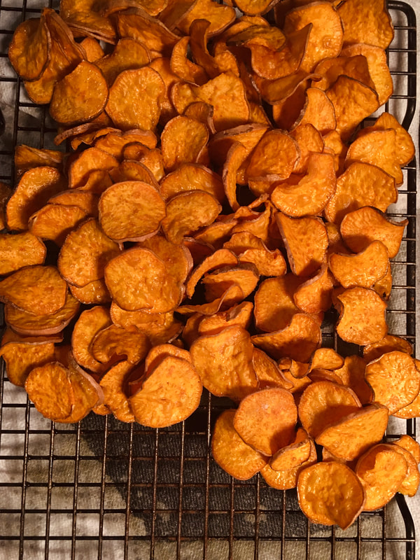 Cooling sweet potato chips