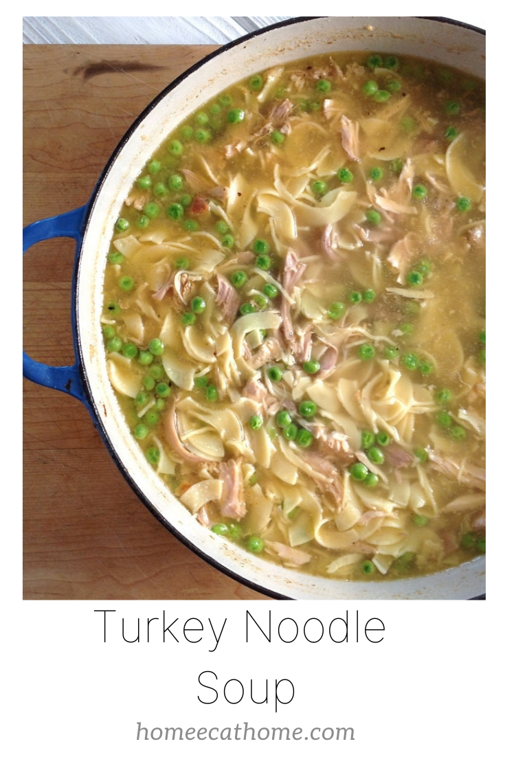 Turkey noodle soup made from leftover Thanksgiving turkey
