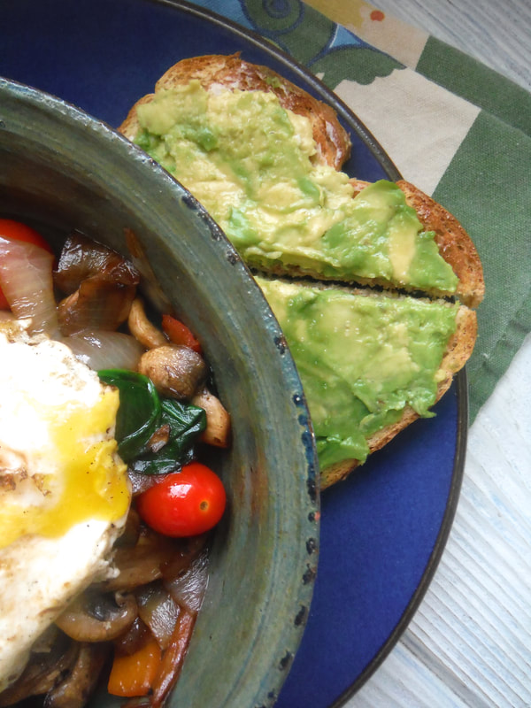 veggie breakfast bowl with avocado toast