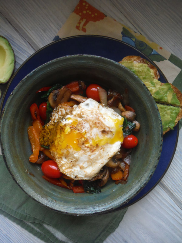 My favorite veggie breakfast bowl with avocado toast